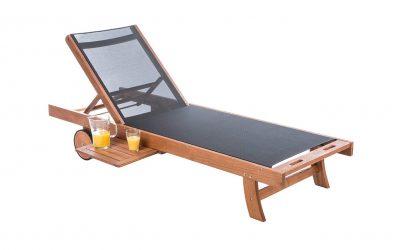 Sedia sdraio in legno certificato e ruote