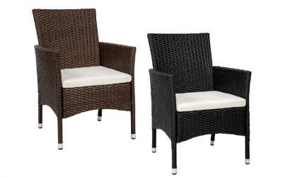 2 Sedie da esterno giardino in polirattan marrone – nero