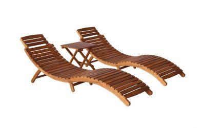 Lettini prendisole pieghevoli in legno massello con tavolino