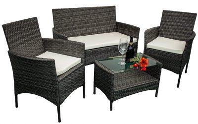 Mobili da giardino in ecorattan: 2 poltrone, divano, tavolino