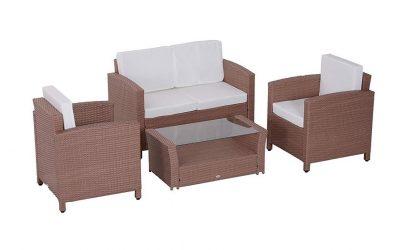 Salottino da esterno – divano e poltrone con cuscini e tavolino