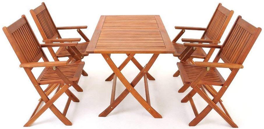 Tavolo Da Giardino Pieghevole Con Sedie.Set Da Pranzo Con Tavolo E Sedie In Legno