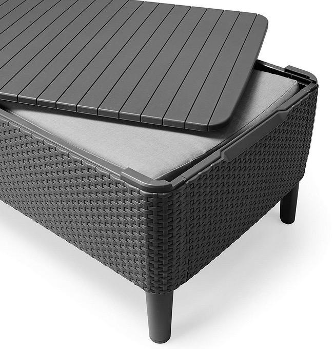 tavolino da giardino contenitore porta oggetti poggiapiedi