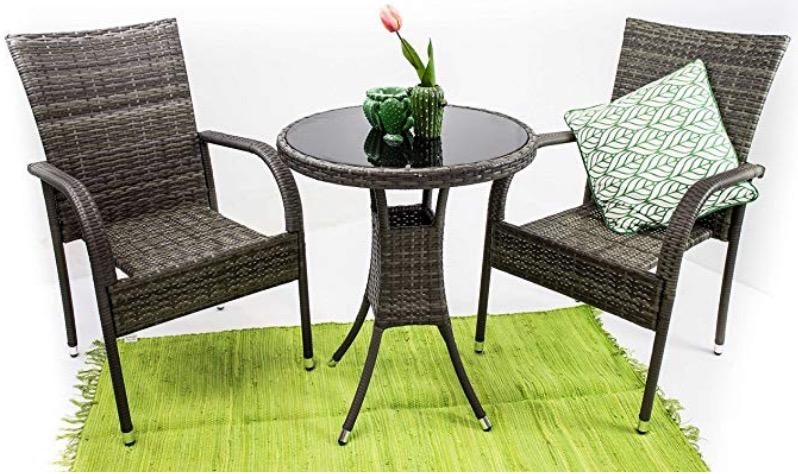 Due Poltrone tavolino rotondo polirattan grigio