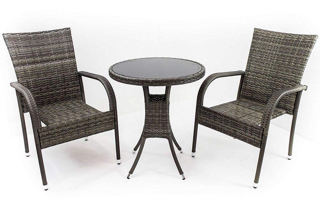 Poltrone con tavolino rotondo in polirattan grigio