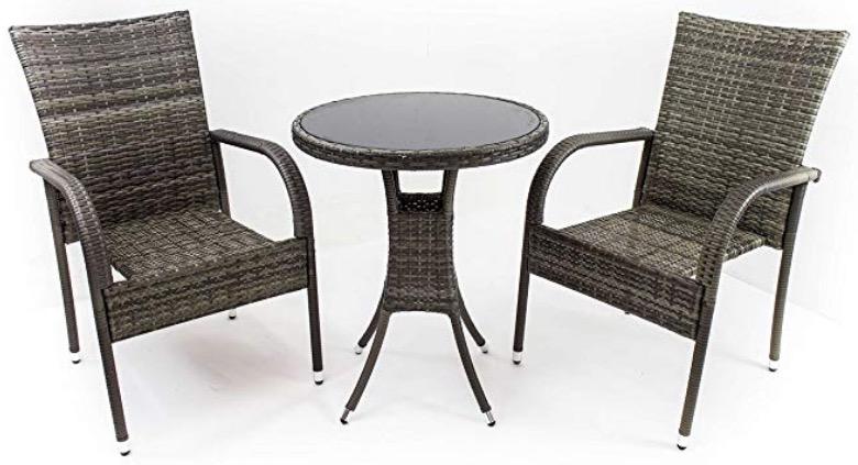 Poltrone con tavolino rotondo in polirattan grigio balcone