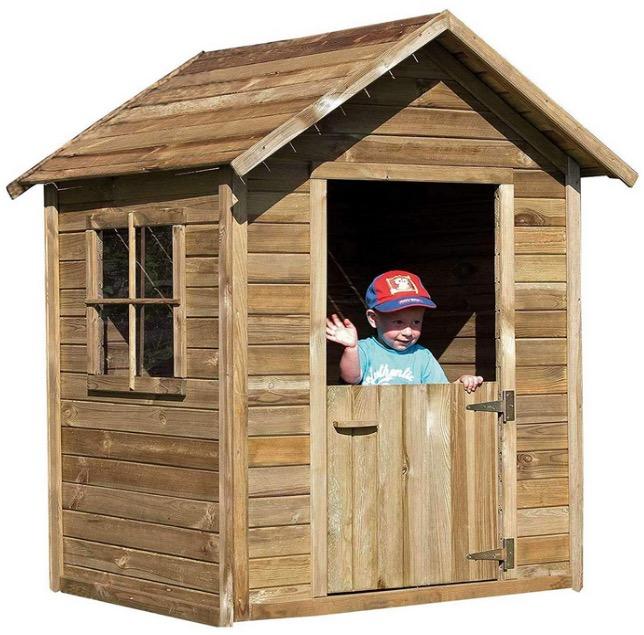 Casetta in legno bambini con tetto impermeabile pioggia sole