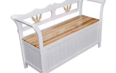 Cassapanca bianca in legno fatta a mano artigianale