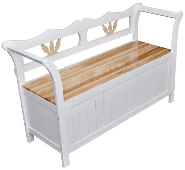 Cassapanca bianca in legno fatta a mano artigianale handmade