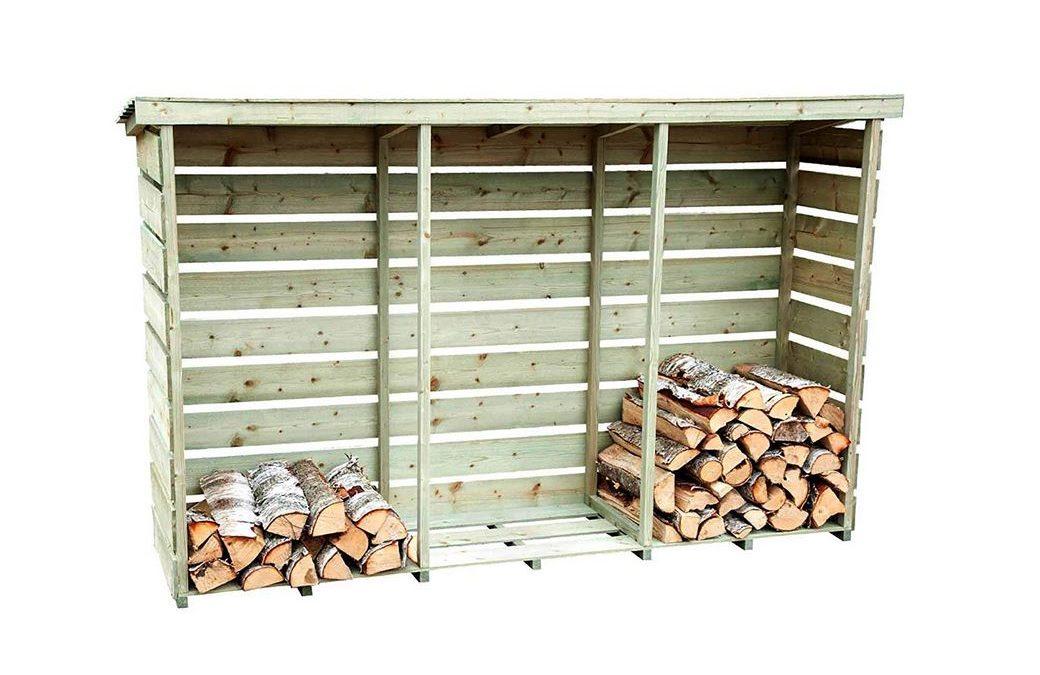 Legnaia in legno trattato da esterno per legna da ardere