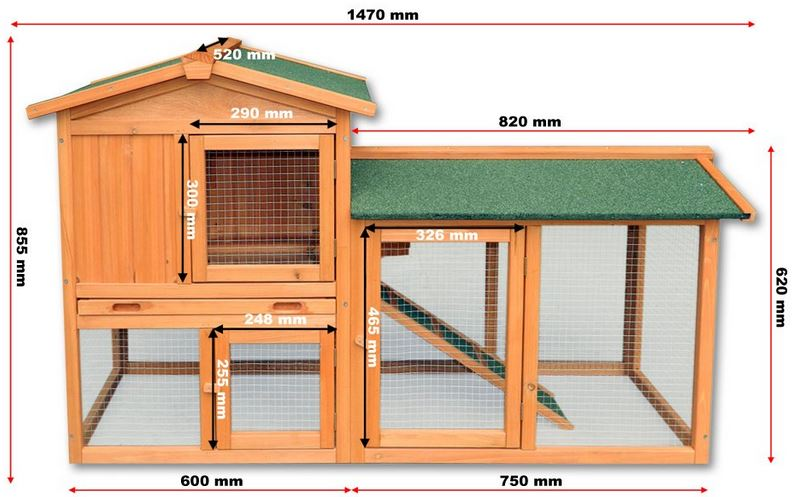 Misure pollaio legno galline conigli