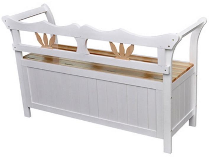 cassapanca in legno bianco con schienale e braccioli