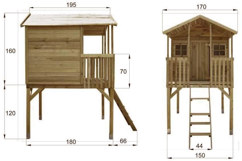 misure Casetta in legno palafitta per bambini