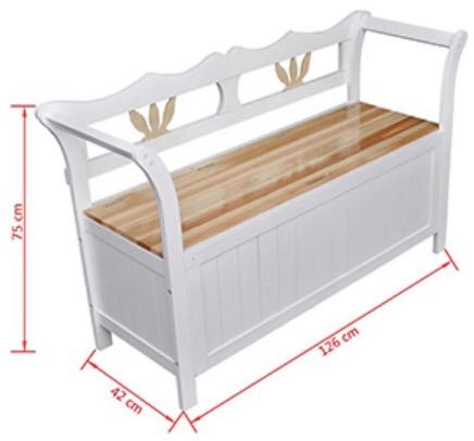 misure cassapanca bianca in legno da casa e giardino
