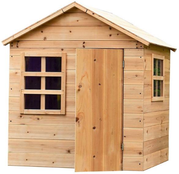 Casetta gioco in legno con porta e finestre luminose giardino