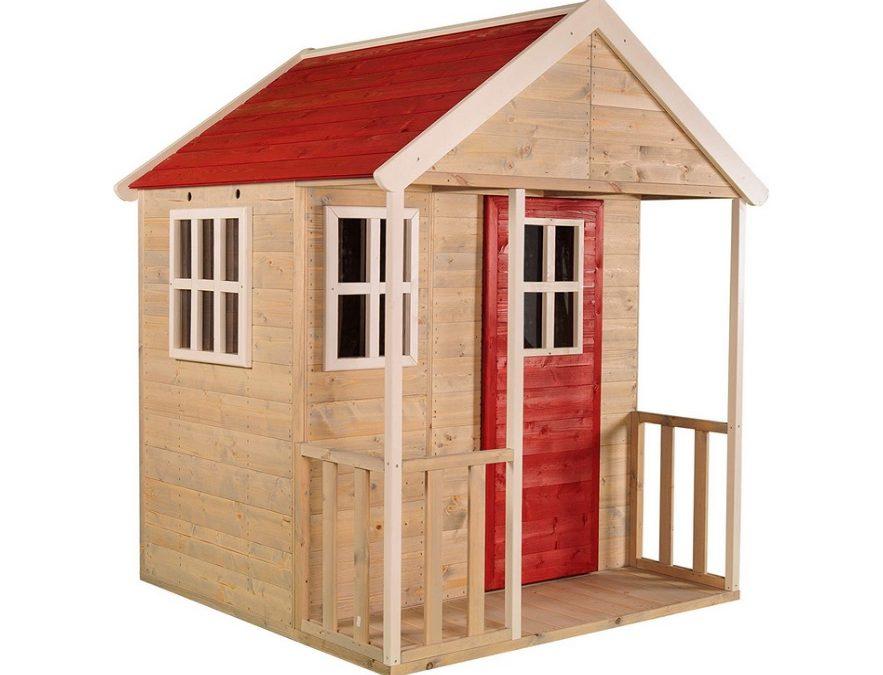 Casetta rossa in legno con balcone per giardino