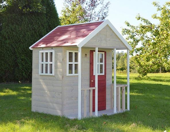 Casetta rossa in legno con balcone per giardino scuola
