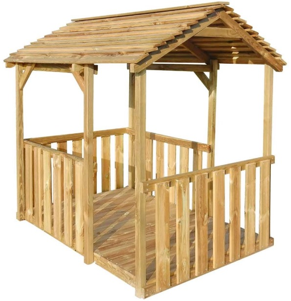 casetta gioco legno naturale robusta da giardino