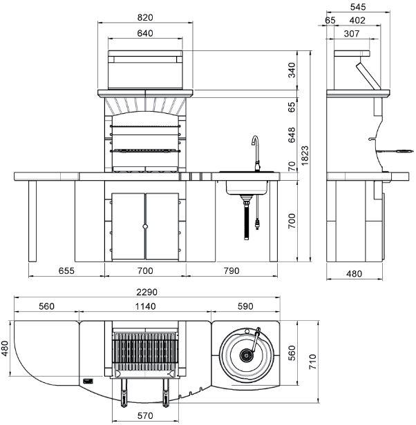 Barbeque in muratura con lavandino misure dimensioni