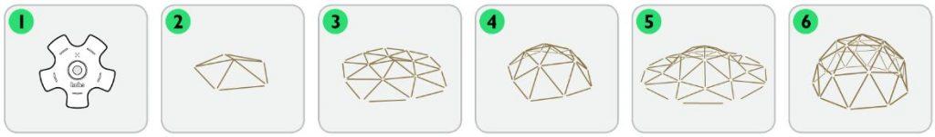 sistema montaggio cupola geodetica